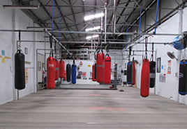 Equipment includes Boxing ring, 21 bags (various weights and sizes)